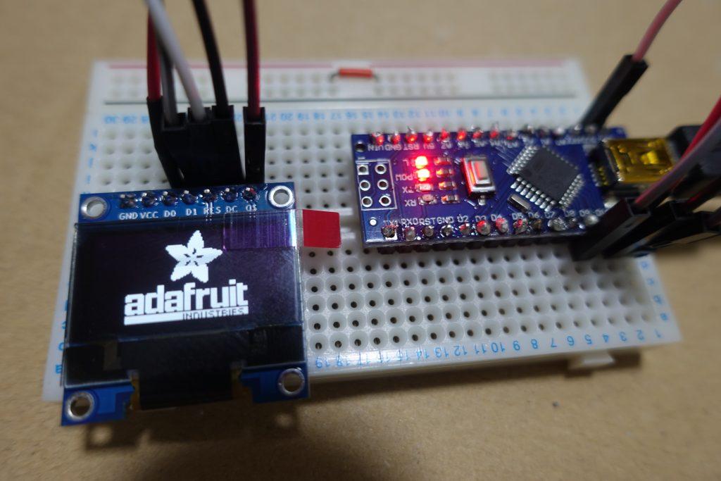 ArduinoでOLEDディスプレイを接続して表示する